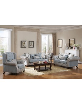 3+2+1 seater leather & fabric sofa lounge set