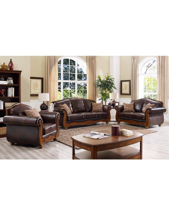 Brown leather sofa lounge set - Furniture