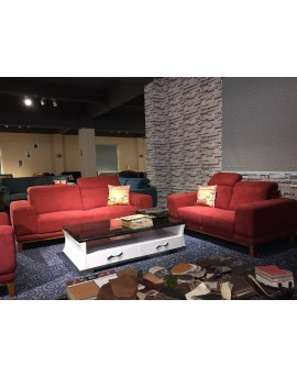 Red fabric sofa 3+2+1 lounge set