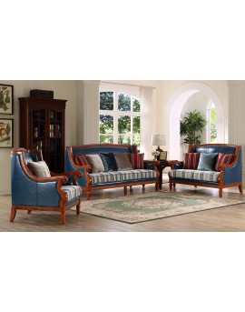 3+2+1 leather & fabric sofa lounge set
