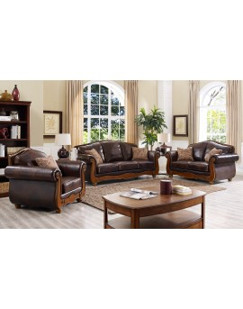 Brown leather sofa lounge set